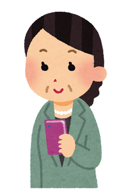 スマートフォンを使う中年女性のイラスト