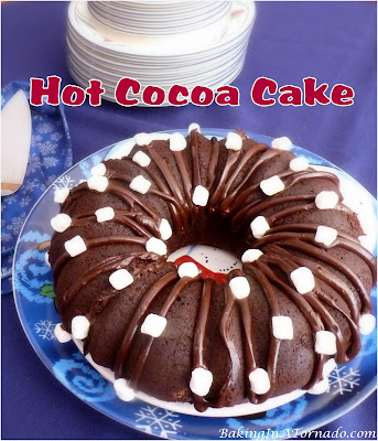 Hot Cocoa Cake is a dense chocolate winter dessert made with hot cocoa and garnished with mini marshmallows. | Recipe developed by www.BakingInATornado.com | #recipe #cake