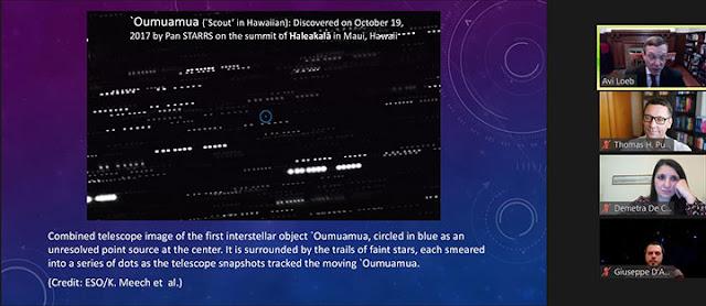 Oumuamua, amid trails of faint stars (Source: Avi Loeb, Golden Webinars lecture)
