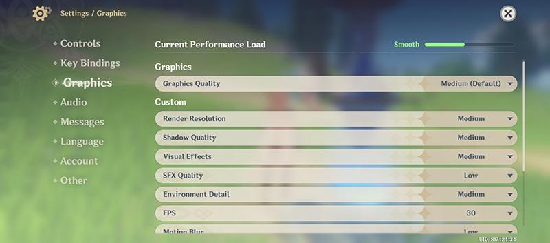 Genshin Impact settings