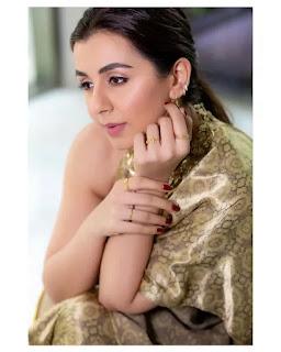 Nikki Galrani Golden Stunning Dress Photos