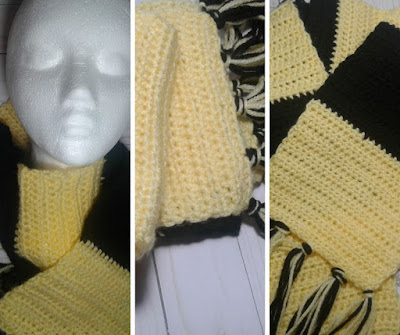 crochet yellow and black blocked scarf