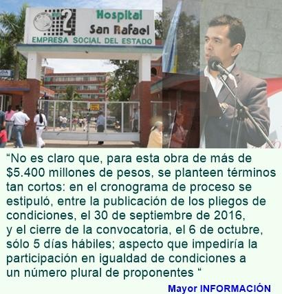Alerta por $5.400 millones de pesos en Hospital San Rafael de Fusagasugá