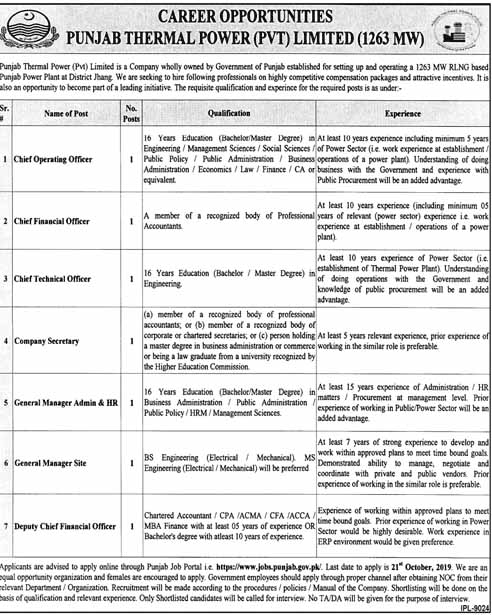 Jobs in Punjab Thermal Power 04 Oct 2019