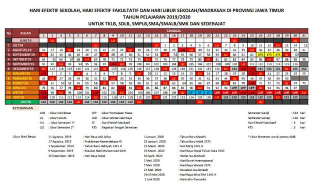 Kalender Pendidikan Tahun Ajaran 2019/2020 Provinsi Jawa Timur
