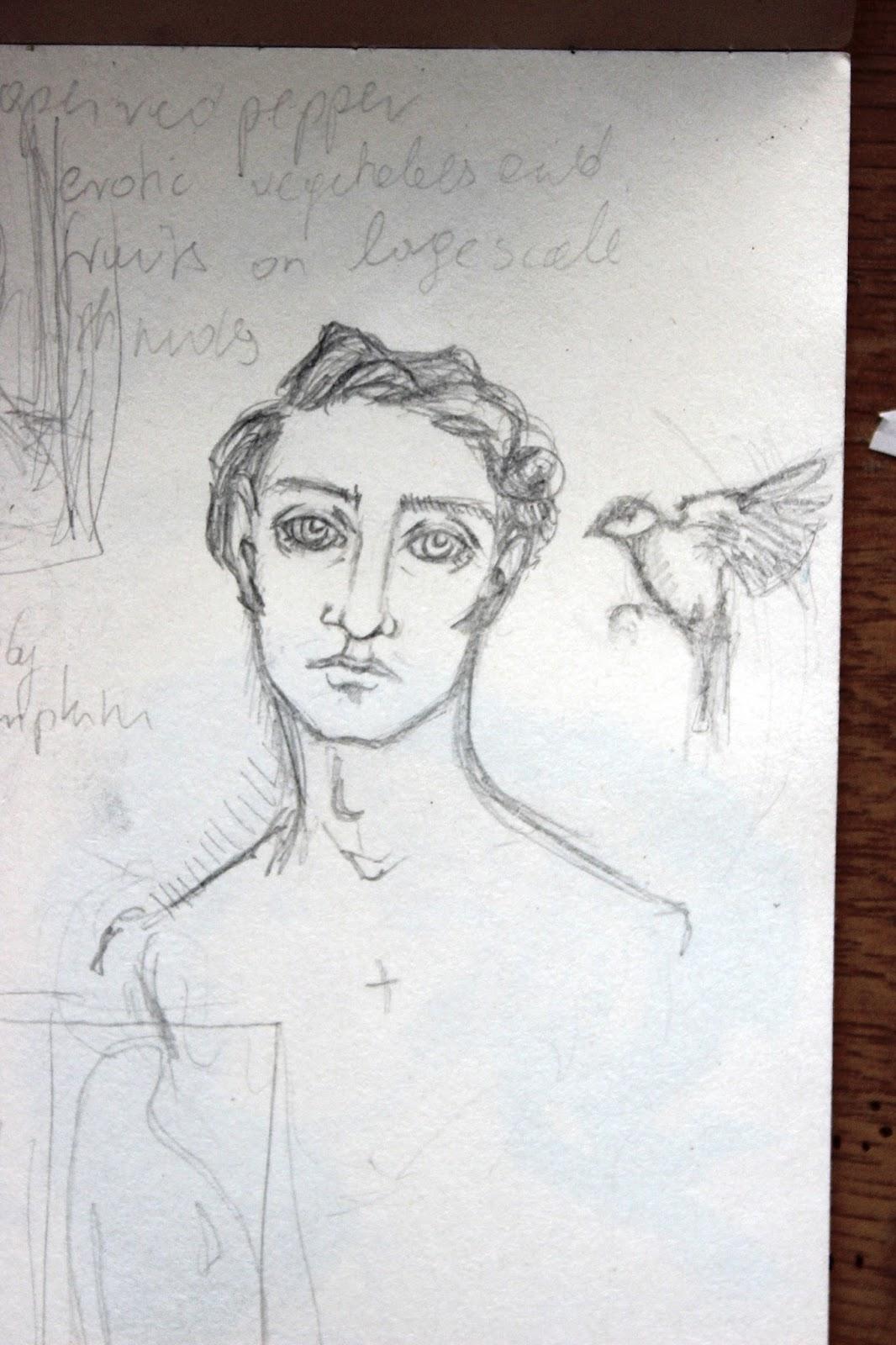 Sketchpad Notebook Sketch Drawing Pencil Portrait Bird