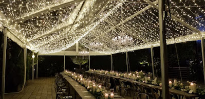 """40"""" Chrystal Chandeliers & A Canopy of Mini-LED String Lights - The Foundry (Tent)"""