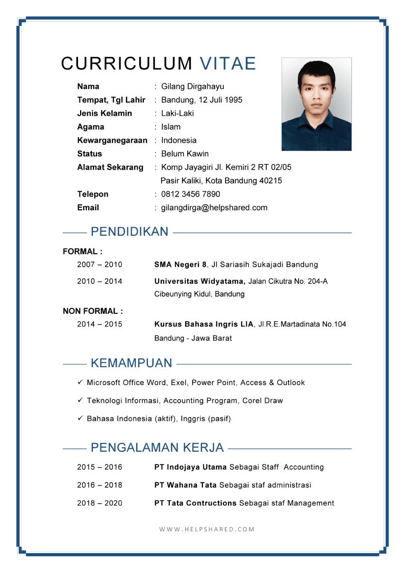 Daftar Riwayat Hidup pdf doc cv word