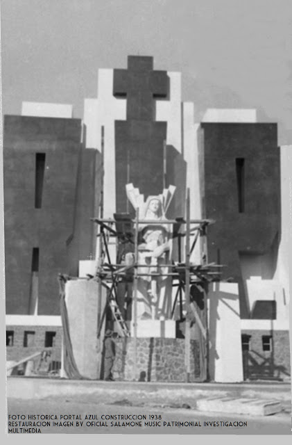 foto historica construccion portal de azul