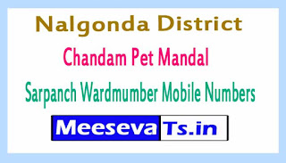 Chandam Pet Mandal Sarpanch Wardmumber Mobile Numbers List Part II Nalgonda District in Telangana State