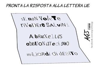 lettera UE, economia, risposta, governo del cambiamento, debito pubblico, manovra, vignetta, satira