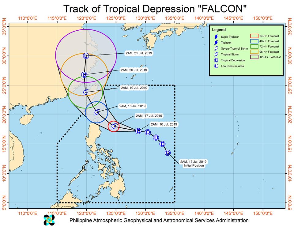 Track of Tropical Depression 'Falcon'