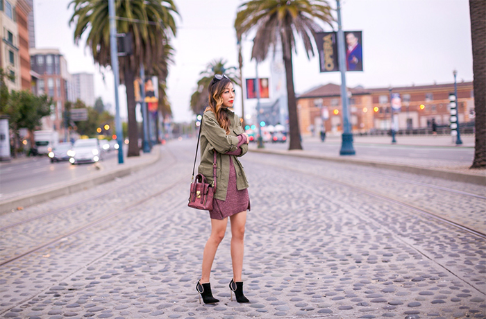 topshop army jacket, bp zip dress, burgundy zip dress, zip dress, military jacket, fall essentials, 31phillip lim mini pashli bag, prada sunglasses, little black choker, baublebar choker, casadei ankle booties, fall essentials, san francisco street style, san francisco style blog, fall outfit ideas