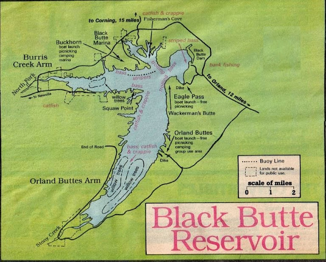 Black Butte Lake Fishing Map and Fishing Report how to fish Black Butte Lake, crappie fishing, black butte lake fishing map, black butte reservoir