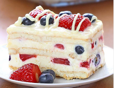 No Bake Summer Berry Icebox Cake  #strawberry
