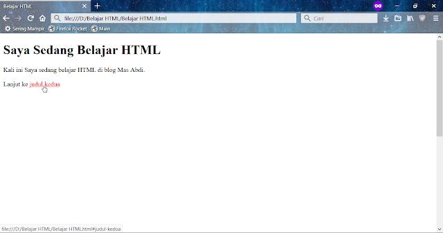 sekarang pada artikel kali ini kita akan mempelajari  Cara Membuat Link Yang Akan Mengarah ke Bagian Lain Halaman HTML