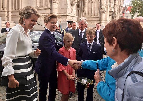 Queen Mathilde, Princesses Eleonore, Astrid, Elisabetta, Sibilla, Louisa Maria, Maria Laura, Margaretha of Liechtenstein and Elisabetta