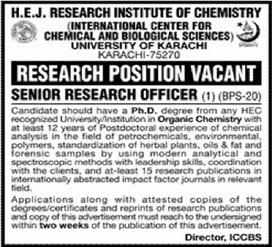 Research Officer Jobs in University of Karachi