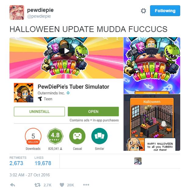 Pewdiepie Tuber Simulator Halloween
