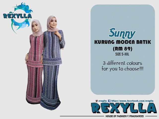 rexylla, baju kurung, kurung moden, batik, batik print, sunny collection