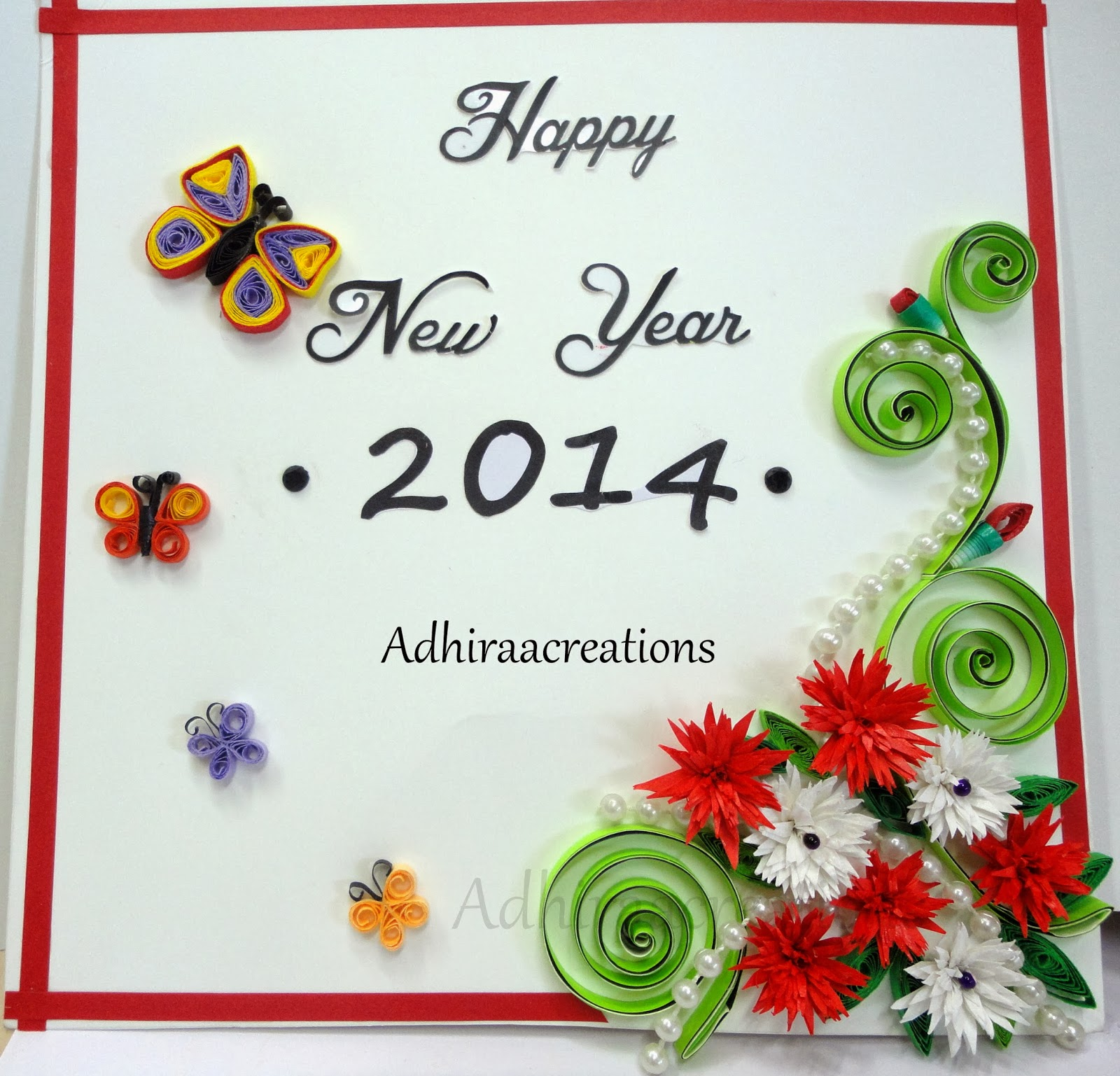 Adhiraacreations: Quilled Happy New Year wishes
