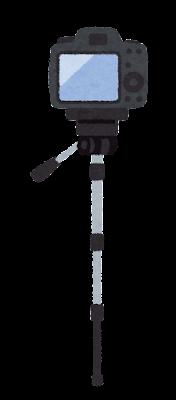 カメラを載せた一脚のイラスト(ファインダー側)