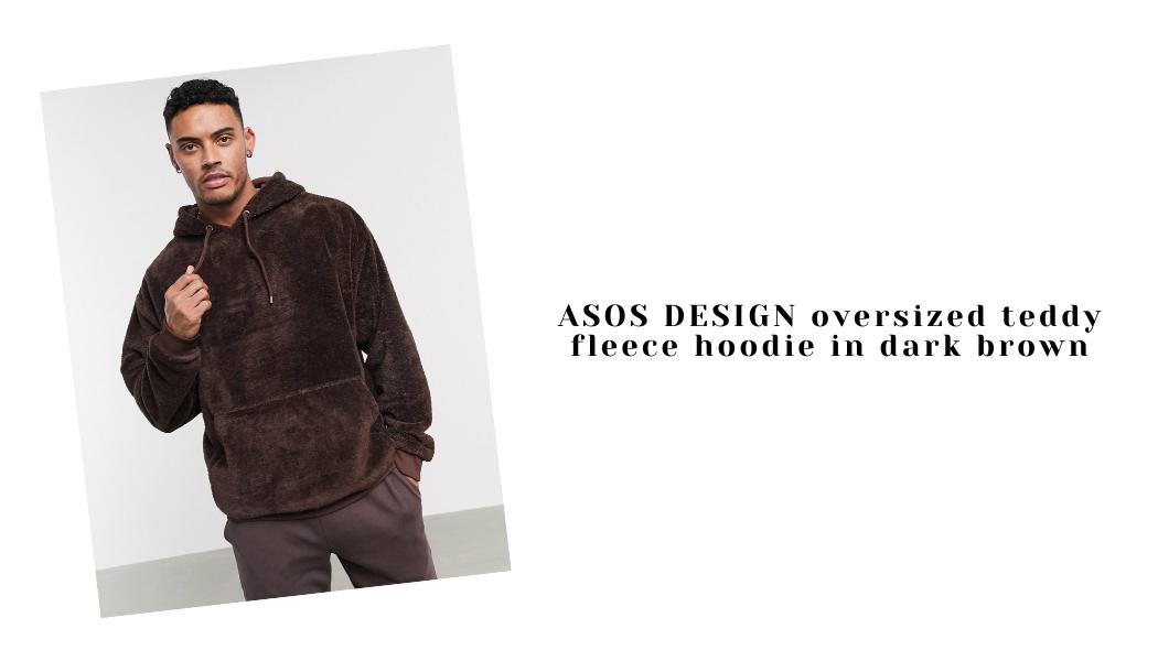 ASOS DESIGN oversized teddy fleece hoodie in dark brown
