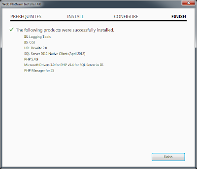 PHP 5.4 on IIS 7.5 Microsoft Web Platform Installer 4.0 Finish