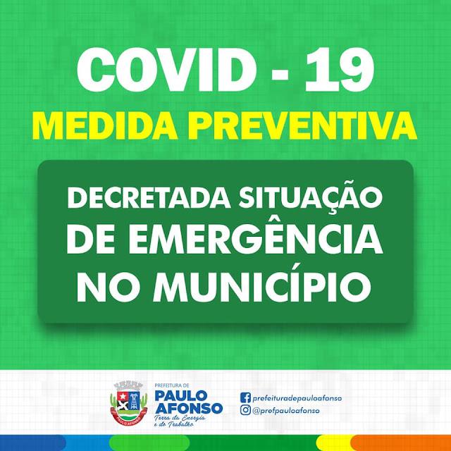 Prefeitura de Paulo Afonso/BA decreta situação de emergência por causa do Coronavírus