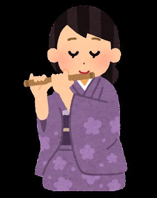 篠笛を吹く人のイラスト(女性)