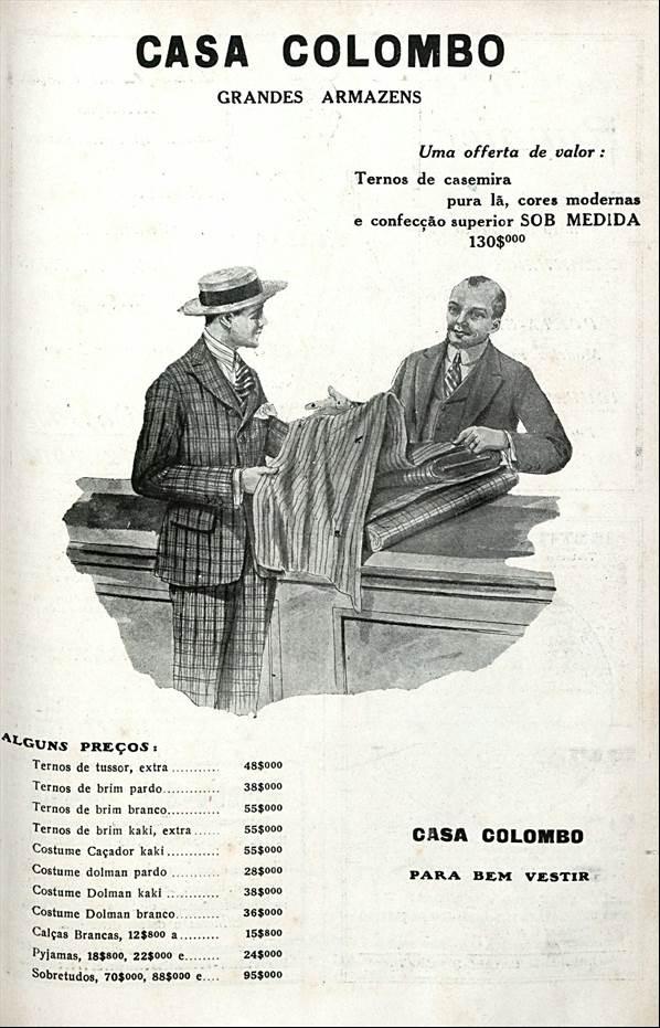 Propaganda antiga da Casa Colombo veiculada em 1920