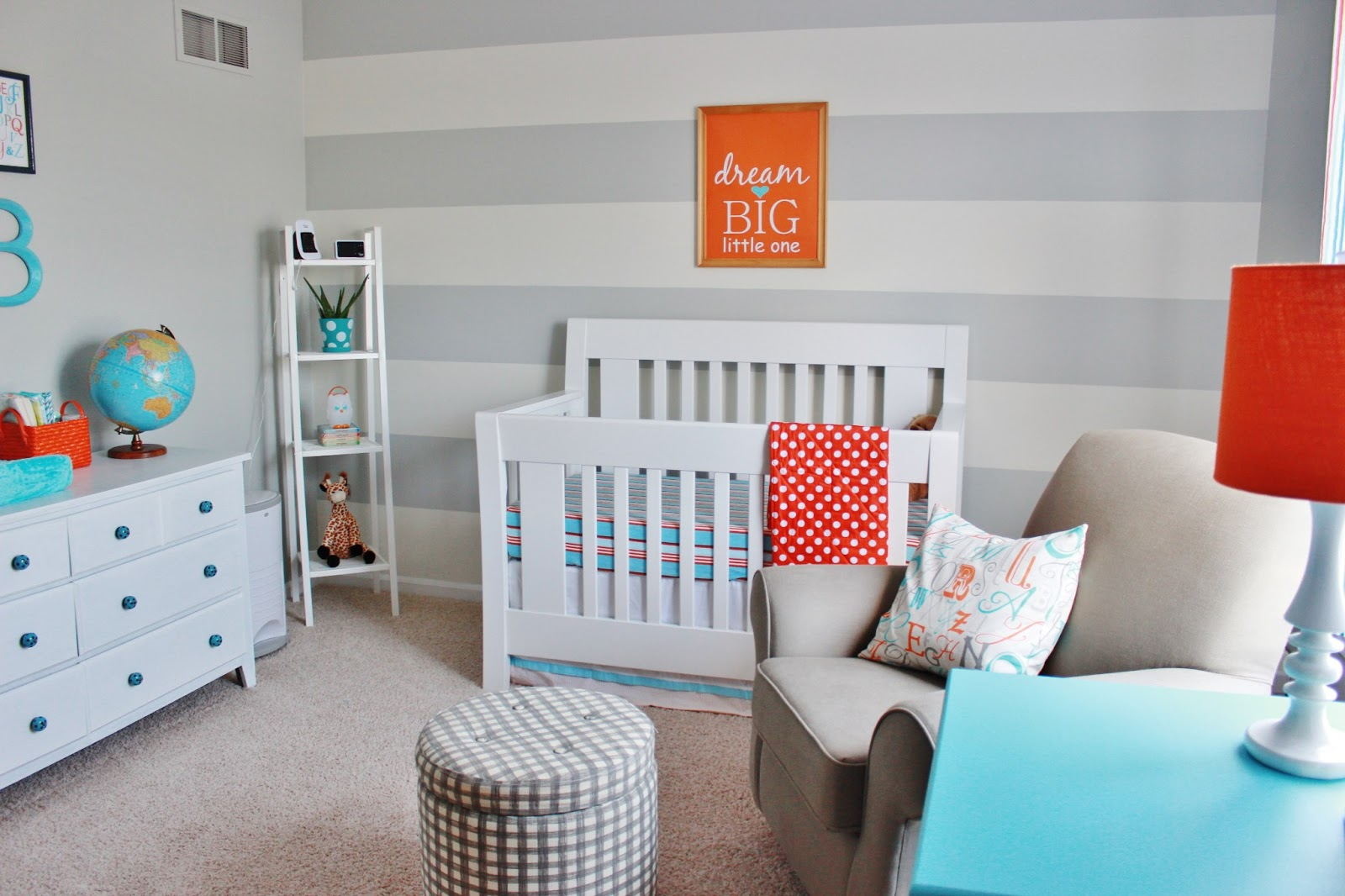 Finally! Our Baby Boy's Aqua, Orange, & Grey Nursery ...