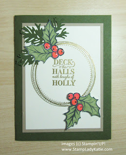 Christmas card featuring Stampin'UP!'s Christmas Gleaming stamp set, Beautiful Boughs dies and Swirly Frameds stamp set