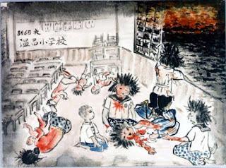 dibujo hecho por los sobrevivientes décadas después del ataque nuclear