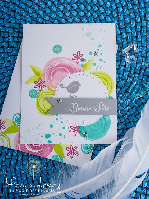 carte avec le jeu swirly bird stampinup