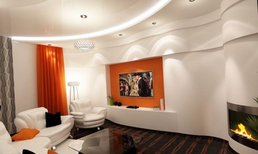 Цветовая гамма стен, потолка, интерьера гостиной комнаты