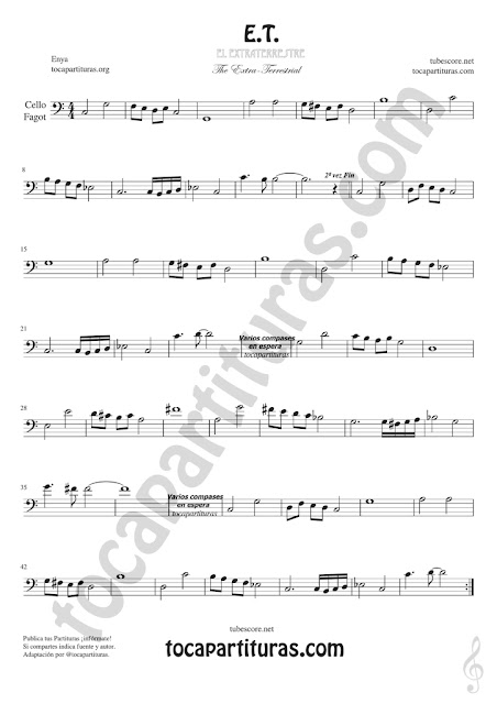 ET Violonchelo y Fagot Partitura de Sheet Music for Cello and Bassoon Music Scores