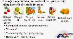Thành phần Thực phẩm chức năng bổ sung Bột hòa tan Nutrilite Active 8 – Vị Cam của Amway