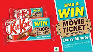 KitKat Break With Free Paytm Movie Ticket Voucher - Win Rs.1000/- Every Minute #MyMovieBreak
