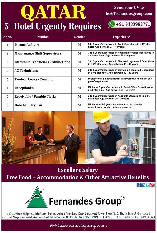 Qatar Five Star Hotel requires