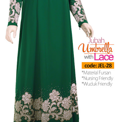 Jubah Umbrella Lace JEL-28 Green Depan 14