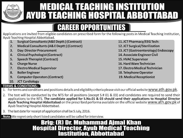 Ayub Teaching Hospital Jobs in Pakistan for Doctors
