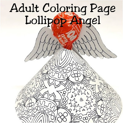 Print out this Adult Coloring page printable and make a fun Christmas angel for your Christmas party.  This Printable angel craft comes together in moments and holds a yummy Tootsie Roll sucker for a sweet Christmas treat.