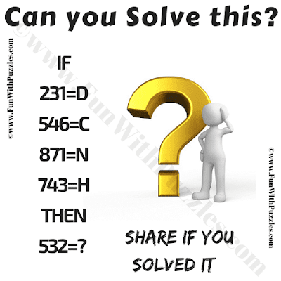 IF 231=D, 546=C, 871=N, 743=H Then 532=? Can you solve this?