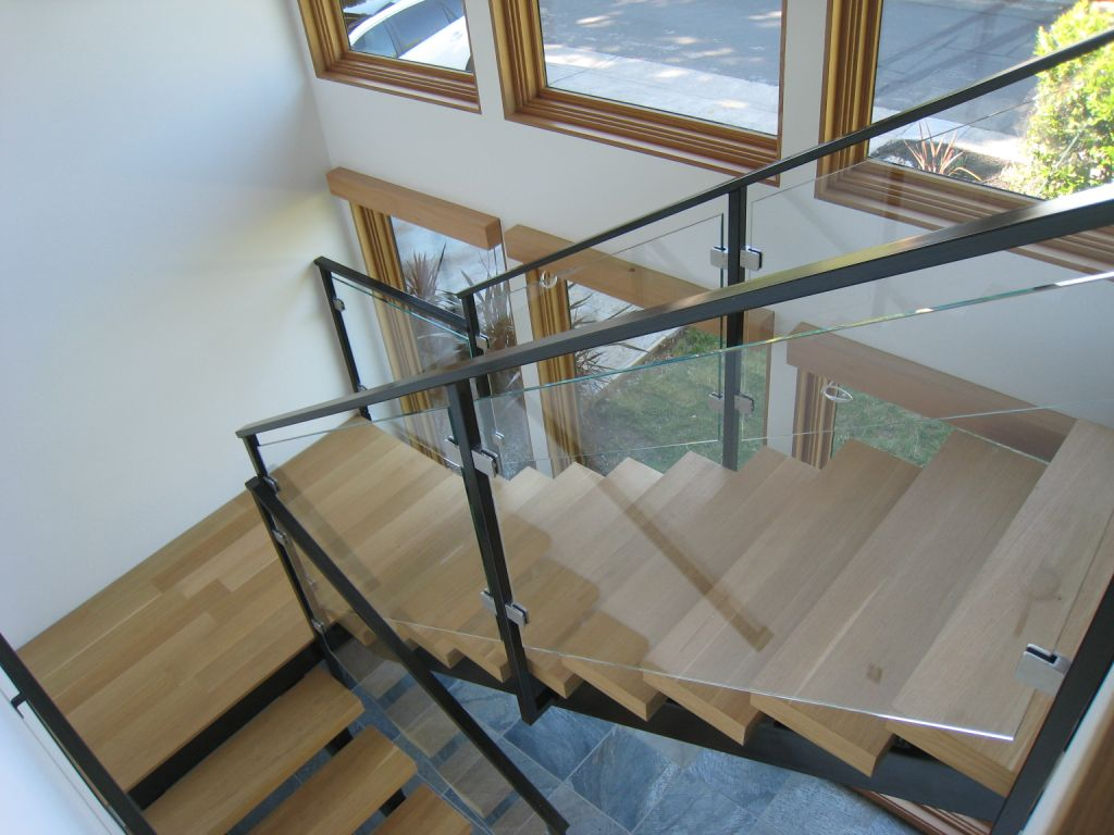 Interior Glass Stair Railing, Glass Clamps • OT Glass