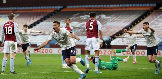 ملخص واهداف مباراة مانشستر سيتي واستون فيلا (2-1) الدوري الانجليزي