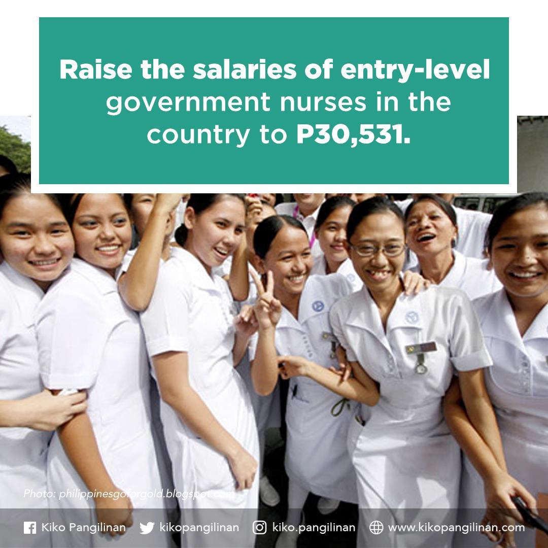 Pangilinan seeks to raise public nurses to Salary Grade 15