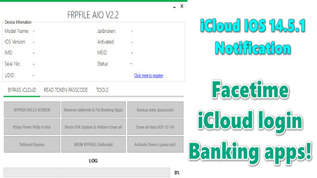 FRPFILE AIO-FREE Bypass iCloud IOS 14.5.1 NOTIFICATIONS | Facetime | iCloud login | Banking apps!