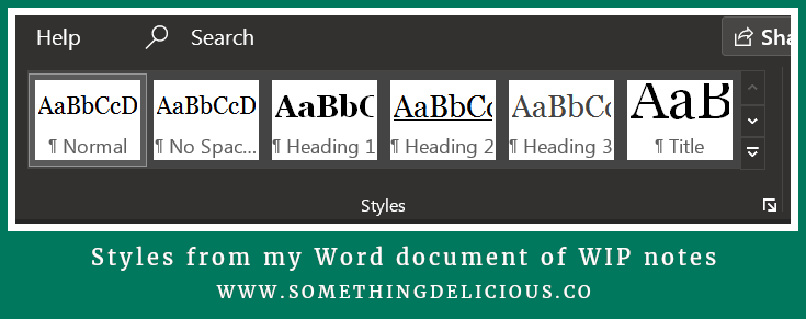A screenshot of the Styles bar in Microsoft Word, showing a preview of the Styles that Tori uses in one document.