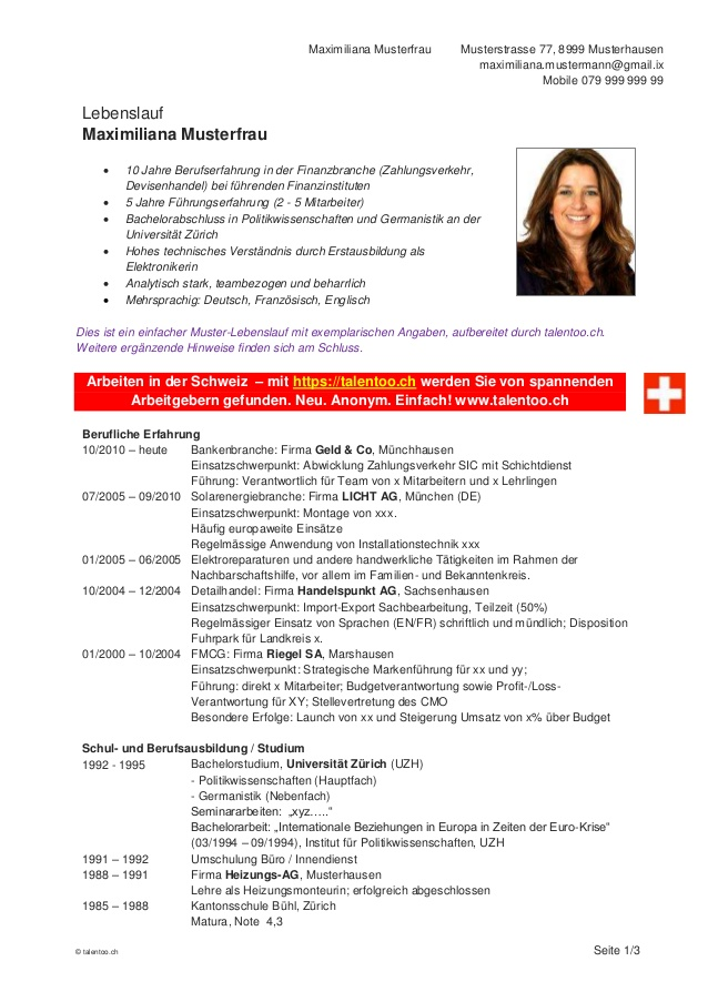 Dir Gefllt Dieser Artikel Lebenslauf Schweiz Der Lebenslauf Als